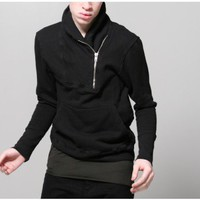 oak shawl collar zip pullover black Oak