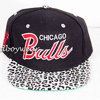 Chicago Bulls White leopard Print Strapback SnapBack Hat 