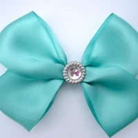 Tiffany Blue Hair Bow W/ Sparkle Gem
