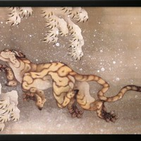 Old Tiger in the Snow Pre-made Frame by Katsushika Hokusai