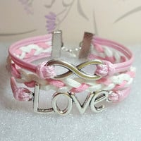Love Bracelet,Infinity Bracelet.Light Pink Wax Cords and White with Light Pink braid bracelet.