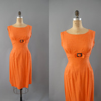 1960s Dress / Buckle Empire Dress / 60s