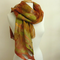 Earthy Colors Silk and Wool Wrap Nuno Felted Spring by sesenarts