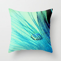 Feather And Water Blue Throw Pillow by Ally Coxon | Society6