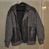 Leather and tweed jacket. Unisex L