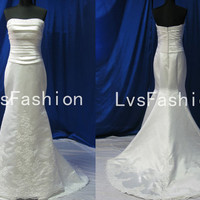 Mermaid Strapless Court Train Satin with Lace Beach Wedding Dresses, Bridal Gown, Beach Wedding Dresses