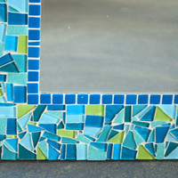 Teal and Lime Green CUSTOM Mosaic Mirror