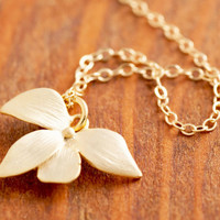 Gold Flower Necklace - flower necklace, gold flower, floral necklace, orchid, gold orchid necklace