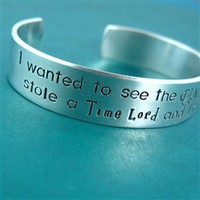 Doctor Who I Stole a Time Lord Cuff Bracelet - Spiffing Jewelry