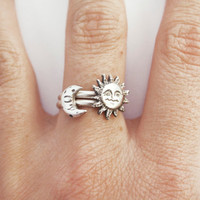 Sun and Moon Stacking Ring, Set of Two Sterling Silver Rings, Gift for Her, Casted Sun and Moon