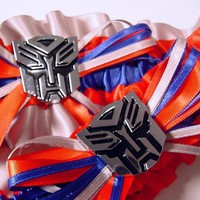 wedding garter set Transformer Autobot blue red by PetereneDesign