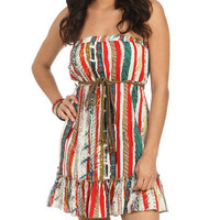 Printed Belted Tube Dress - Teen Clothing by Wet Seal
