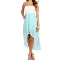 White/Mint Strapless Hi Lo Dress