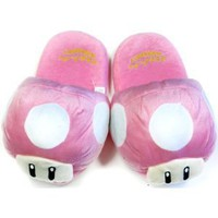 Super Mario Brothers Pink Mushroom Plush Slippers: Amazon.com: Toys &amp; Games