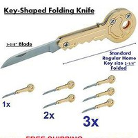 Key Shaped FOLDING KNIFE  Attach to any Key Chain 2&quot; folded &amp; 1-5/8&quot; Blade 