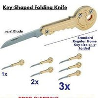 "Key Shaped FOLDING KNIFE  Attach to any Key Chain 2"" folded & 1-5/8"" Blade"