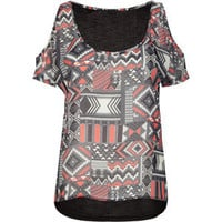 FULL TILT Mixed Media Cold Shoulder Womens Top 191543957 | tops | Tillys.com