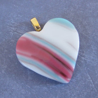 Colorful Heart, Modern Pendant, Fused Glass Heart, Handmade Heart Pendant, Mothers Day Jewelry - Juliet - 3894 -3