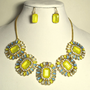 Statement Bib Necklace and Earring Set with Crystal Stones, Glass Beads, Motif Flower.