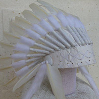 Indian White Feather Headdress