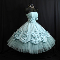 Vintage 1950's 50s STRAPLESS Will Steinman Bombshell Turquoise Blue Taffeta Tulle Lace Party Prom WEDDING Dress Gown