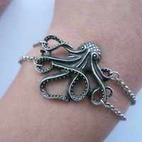 braceletantique silver octopus pendant & silvery by lightenme