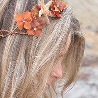 Flower Crown Flower Wreath Starfish & Fall Flowers Unique Bohemian Flower Crown Perfect for a Beach Wedding or Music Festival