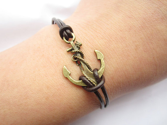 Braceletantique bronze unique little anchor&brown by lightenme