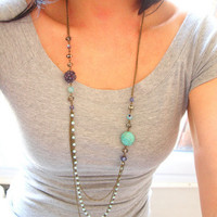 Turquoise and Purple long  cascading necklace in by sianykitty