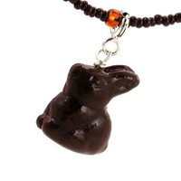 Chocolate bunny necklace by inediblejewelry on Etsy