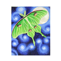 Original Painting BELLA LUNA 11x14 Luna Moth Acrylic on by nJoyArt
