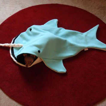 Cat Bed Blanket Nigel The Narwhal PetCosy Silly Pet by rikarika