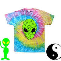 90s Tie Dye Tshirt / 90s alien /melting alien / sea punk / Grunge