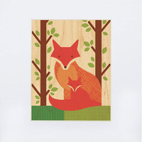 UNFRAMED 11x14 Fox Baby Print on Wood by petitcollage on Etsy