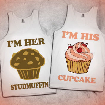 Her Studmuffin / His Cupcake Cute Couples Tanks and Shirts