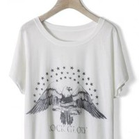 White Short Sleeve T-Shirt with American Eagle Print Front