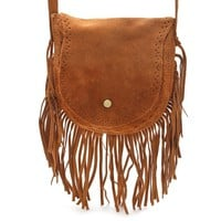 Fringed Boho Suede Bag