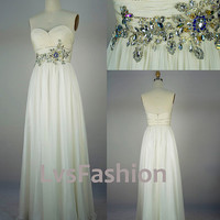 Strapless Sweetheart with Beading Chiffon Long Ivory Prom Dresses Bridesmaid Dress, Evening Dresses, Evening Gown, Wedding Party Dresses