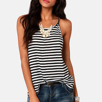 Fan Lines Black and White Striped Tank Top
