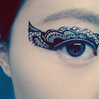 1 Pair of Temporary Tattoo Transfer Stickers for Eyes Eyelids Black Color Laced for Clubbing Party
