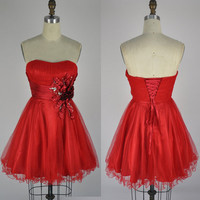 Strapless Sweetheart Mini Short Tulle Red Party by LvsFashion