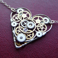 Clockwork Heart Necklace Amore  by amechanicalmind on Etsy