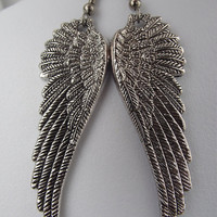 Large Ornate Guardian Angel Wing Earrings by JSWMetalWorks on Etsy