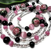 Lanyard Id Badge Black and Pink Japanese Tensha Roses Swarovski Pearls