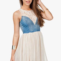 A&#x27;GACI Lace + Denim Contrast Tulle Dress - DRESSES