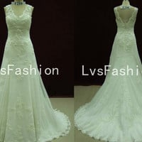 A Line Straps V Neck Court Train Lace Vintage Wedding Dresses, Bridal Gown, Beach Wedding Dresses