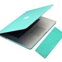 UHURU CASE - 2 in 1 Bundle - Turquoise Blue Rubberized/Satin Case and MATCHING color keyboard cover (LATEST VERSION / No DVD Drive / Release June 2012) with UHURU cleaning cloth: Computers & Accessories