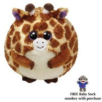 TY Beanie Ballz - TIPPY The Giraffe Small w/Free Baby Sock Monkey: Toys &amp; Games