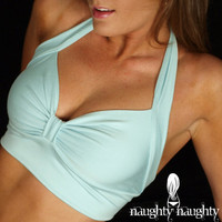Aqua Retro Sleep Bra Top Medium by NaughtyNaughty on Etsy
