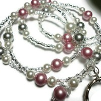Lanyard Id Badge Necklace with Swarovski Pearls Rose Silver White